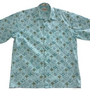 Moda Campia Mens Blue Palm Tree Short Sleeve L